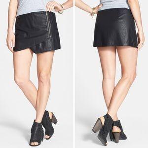 Free People Faux Leather Black Mini Skirt Skort 4